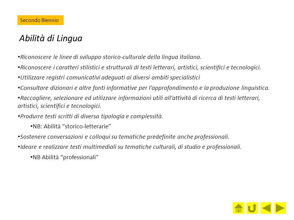 Abilità di Lingua Riconoscere le linee di sviluppo storico-culturale della lingua italiana. Riconoscere i caratteri stilistici e strutturali di testi