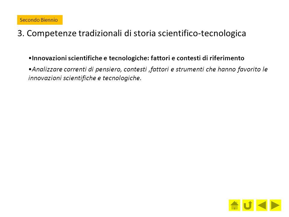 3. Competenze tradizionali di storia scientifico-tecnologica Innovazioni scientifiche e tecnologiche: fattori e contesti di riferimento Analizzare cor
