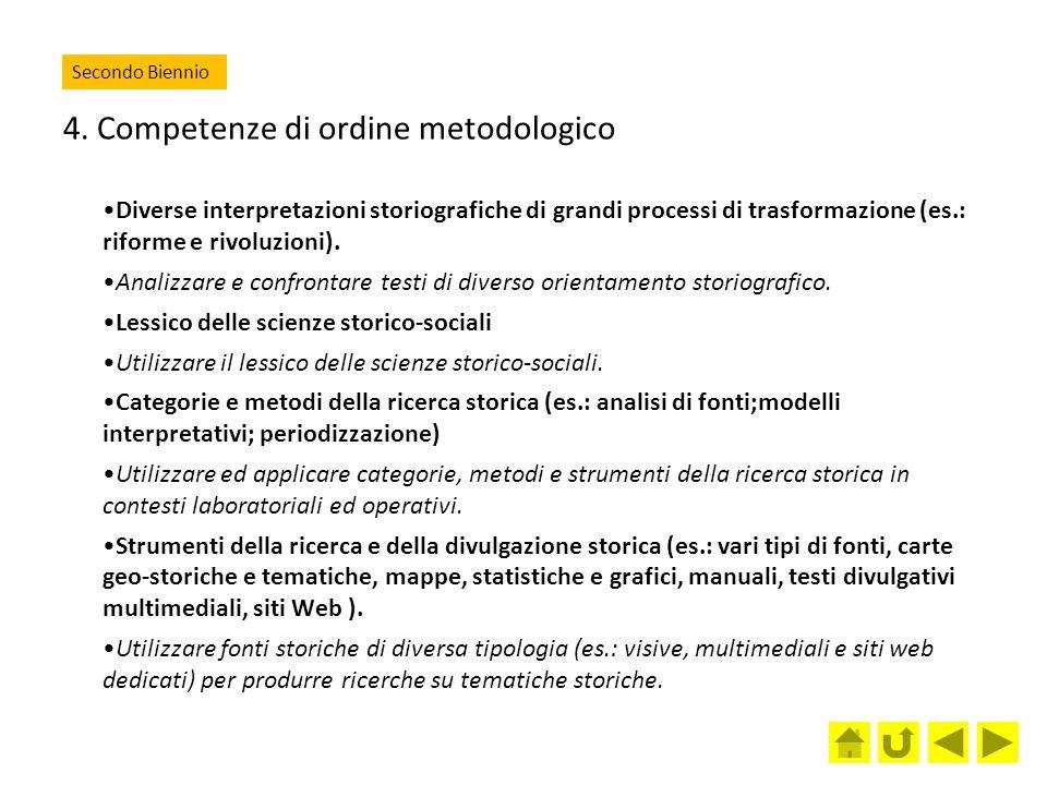 4. Competenze di ordine metodologico Diverse interpretazioni storiografiche di grandi processi di trasformazione (es.: riforme e rivoluzioni). Analizz