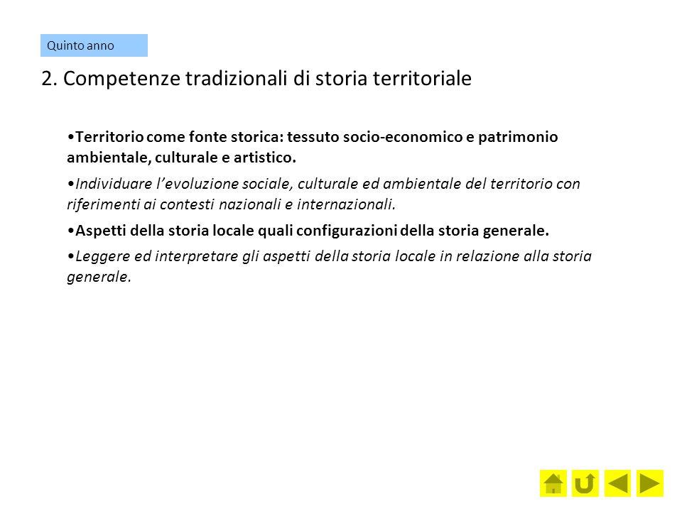 2. Competenze tradizionali di storia territoriale Territorio come fonte storica: tessuto socio-economico e patrimonio ambientale, culturale e artistic