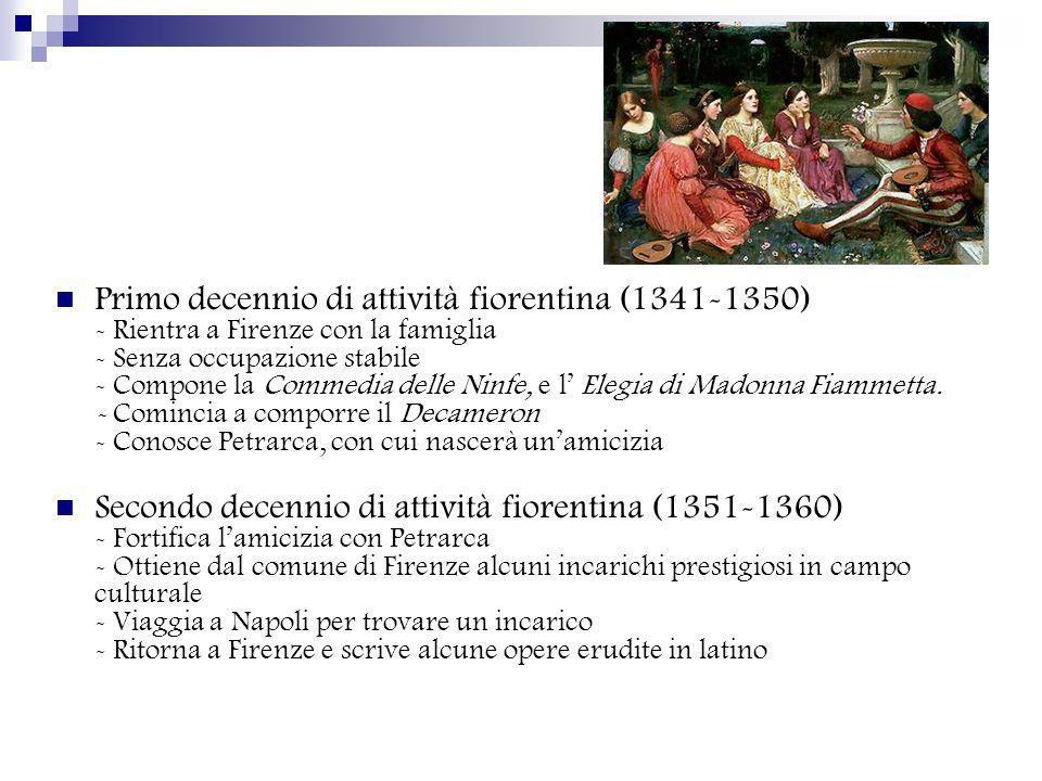 Il ritiro a Certaldo (1361-1365) -Esonerato da ogni incarico perché accusato ingiustamente - Vende la casa a Firenze e si ritira a Certaldo - Comincia a scrivere il Corbaccio Ultimo decennio fiorentino-certaldese (1365-1375) - Torna a Firenze - Accetta lincarico di leggere e commentare in chiesa la Divina Commedia di Dante - Vi rinuncia per il peggioramento della salute - Si ritira a Certaldo dove muore nel 1375