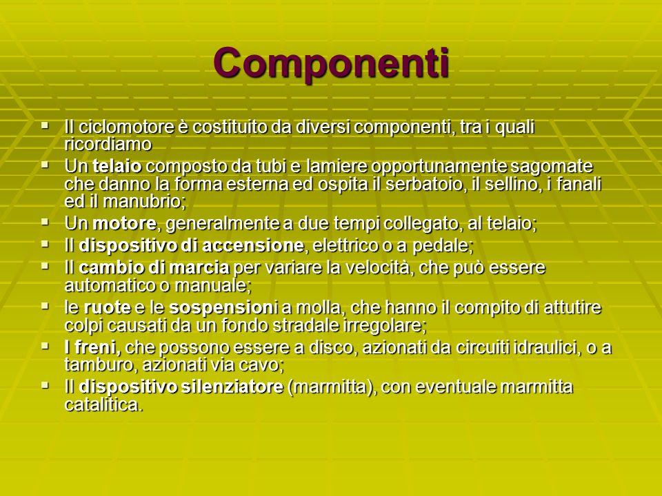 Componenti Il ciclomotore è costituito da diversi componenti, tra i quali ricordiamo Il ciclomotore è costituito da diversi componenti, tra i quali ri