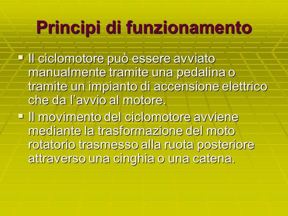 Principi di funzionamento Il ciclomotore può essere avviato manualmente tramite una pedalina o tramite un impianto di accensione elettrico che da lavv