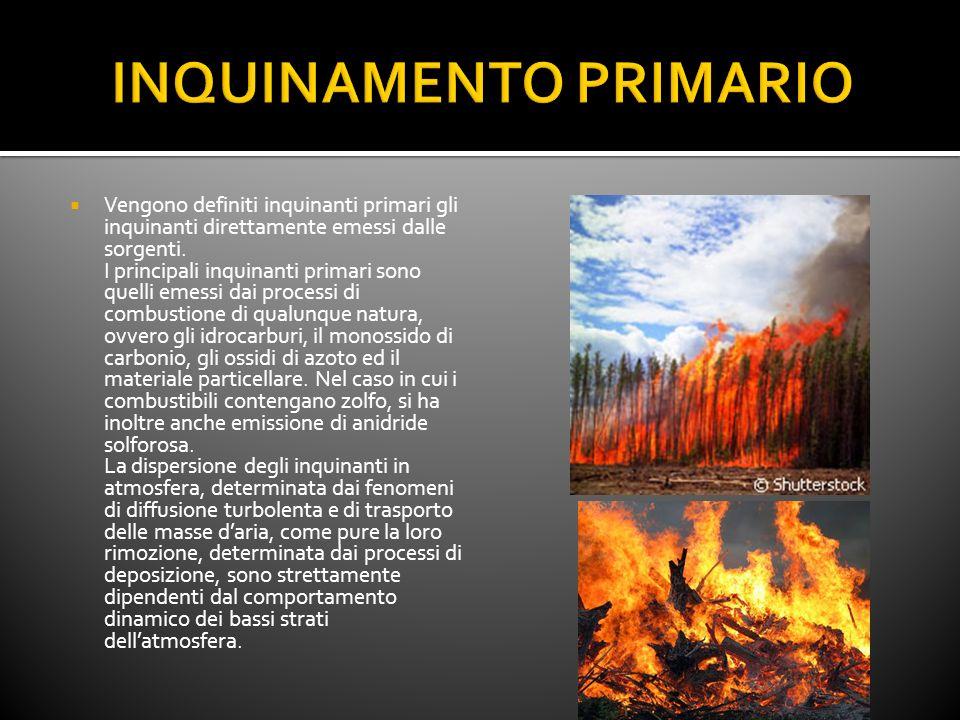 Vengono definiti inquinanti primari gli inquinanti direttamente emessi dalle sorgenti. I principali inquinanti primari sono quelli emessi dai processi