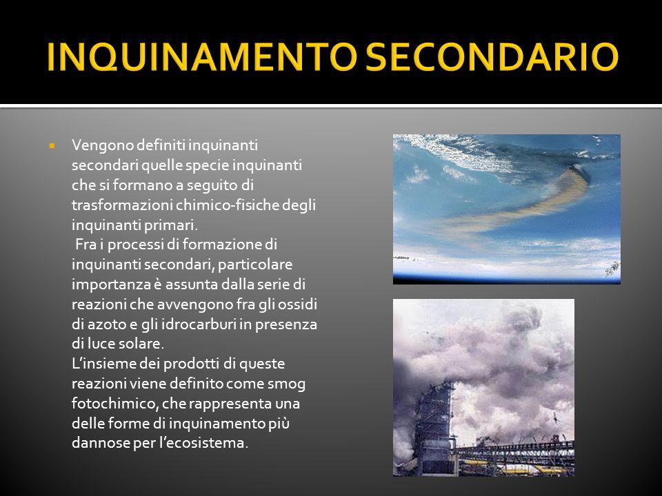 Vengono definiti inquinanti secondari quelle specie inquinanti che si formano a seguito di trasformazioni chimico-fisiche degli inquinanti primari. Fr