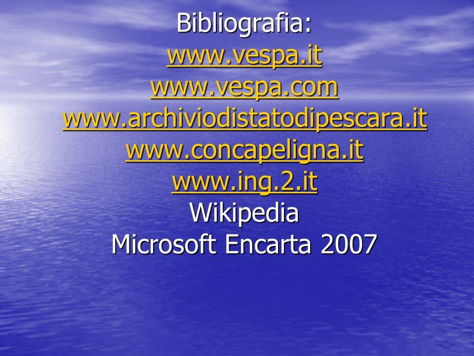 Bibliografia: www.vespa.it www.vespa.com www.archiviodistatodipescara.it www.concapeligna.it www.ing.2.it Wikipedia Microsoft Encarta 2007 www.vespa.it www.vespa.com www.archiviodistatodipescara.it www.concapeligna.it www.ing.2.it www.vespa.it www.vespa.com www.archiviodistatodipescara.it www.concapeligna.it www.ing.2.it
