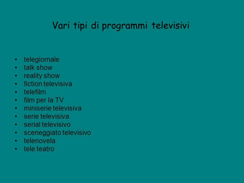 Vari tipi di programmi televisivi telegiornale talk show reality show fiction televisiva telefilm film per la TV miniserie televisiva serie televisiva serial televisivo sceneggiato televisivo telenovela tele teatro