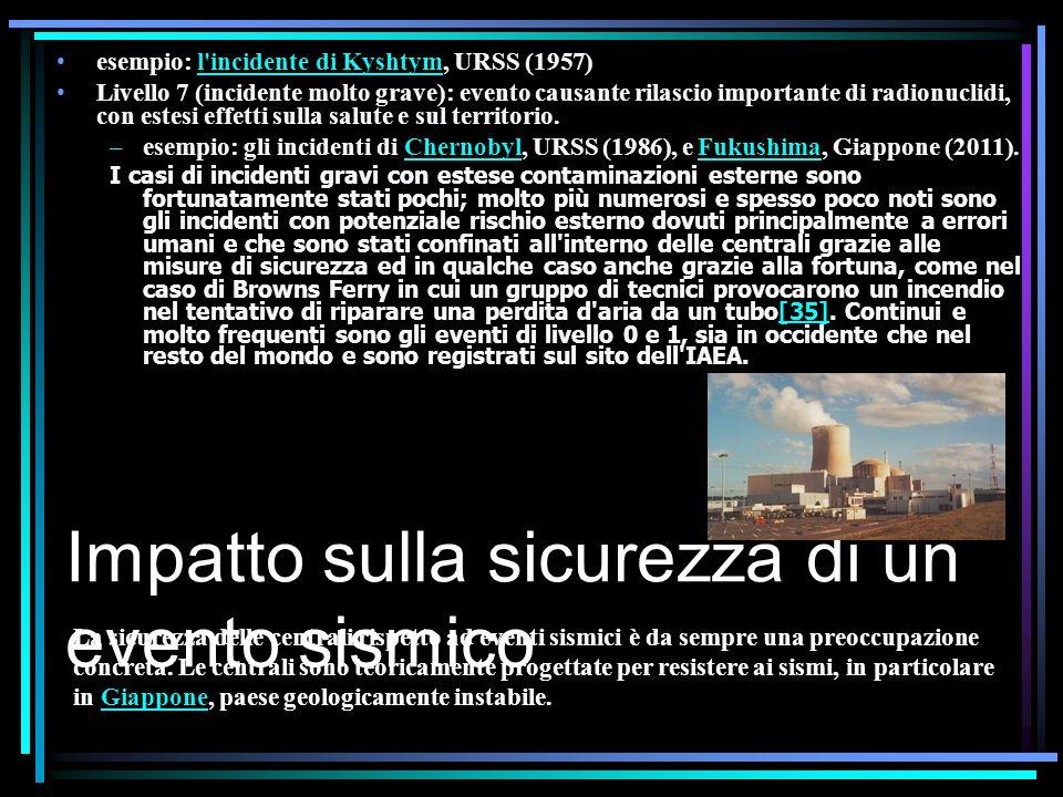 Impatto sulla sicurezza di un evento sismico esempio: l incidente di Kyshtym, URSS (1957)l incidente di Kyshtym Livello 7 (incidente molto grave): evento causante rilascio importante di radionuclidi, con estesi effetti sulla salute e sul territorio.