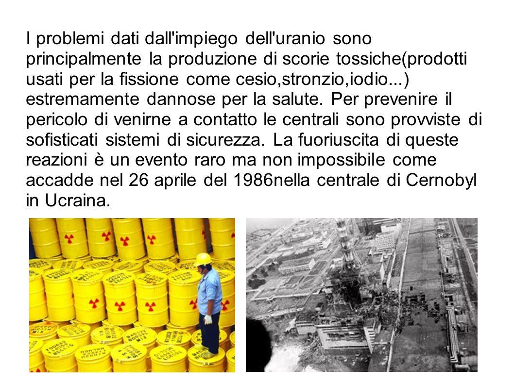 I problemi dati dall'impiego dell'uranio sono principalmente la produzione di scorie tossiche(prodotti usati per la fissione come cesio,stronzio,iodio