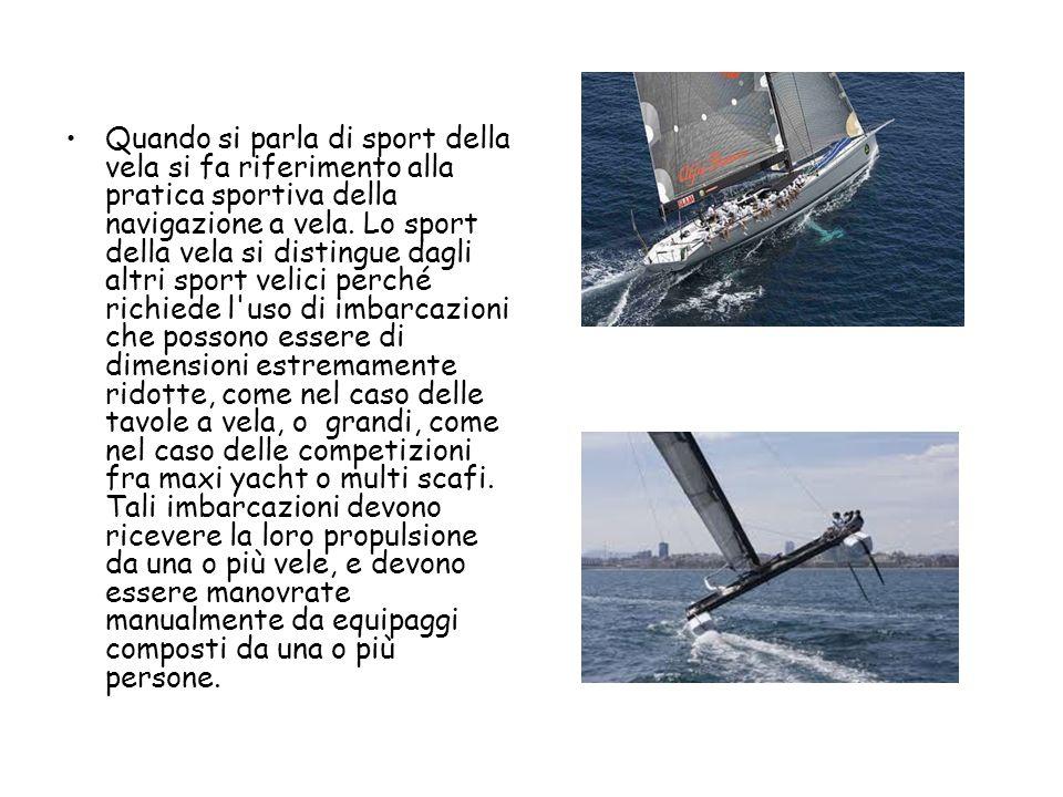 Quando si parla di sport della vela si fa riferimento alla pratica sportiva della navigazione a vela. Lo sport della vela si distingue dagli altri spo
