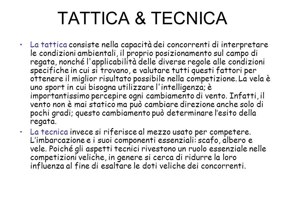 TATTICA & TECNICA La tattica consiste nella capacità dei concorrenti di interpretare le condizioni ambientali, il proprio posizionamento sul campo di