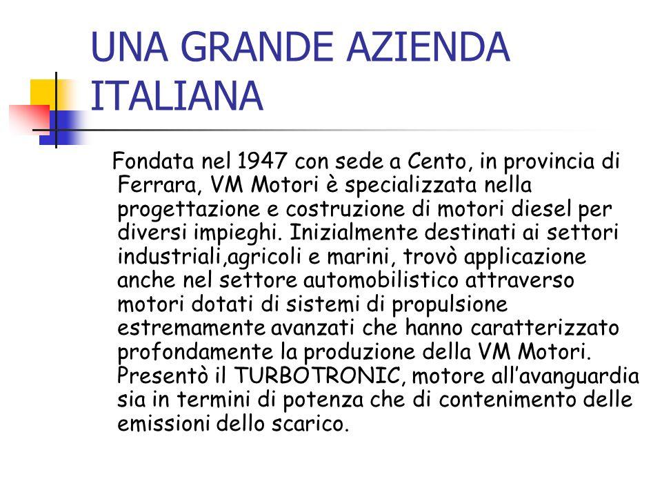 UNA GRANDE AZIENDA ITALIANA Fondata nel 1947 con sede a Cento, in provincia di Ferrara, VM Motori è specializzata nella progettazione e costruzione di