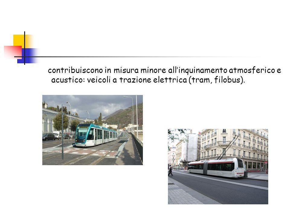 contribuiscono in misura minore allinquinamento atmosferico e acustico: veicoli a trazione elettrica (tram, filobus).