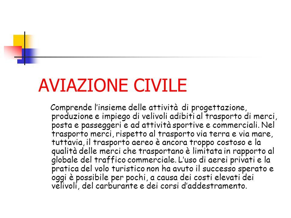 AVIAZIONE CIVILE Comprende linsieme delle attività di progettazione, produzione e impiego di velivoli adibiti al trasporto di merci, posta e passegger