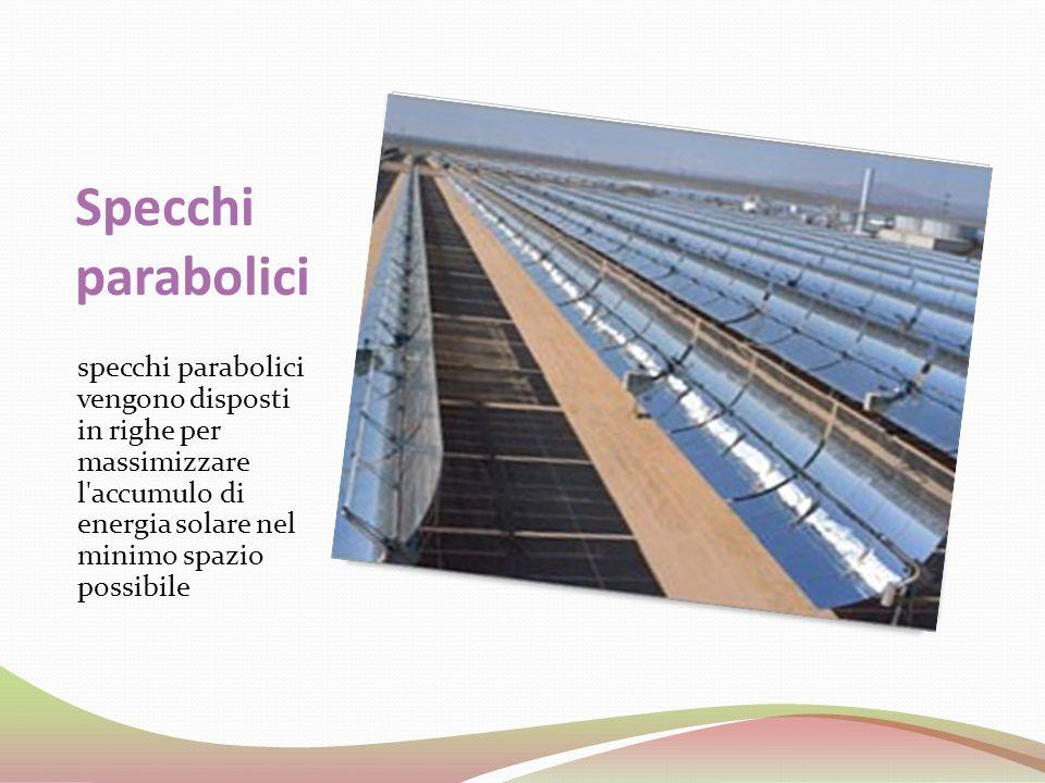 Specchi parabolici specchi parabolici vengono disposti in righe per massimizzare l'accumulo di energia solare nel minimo spazio possibile