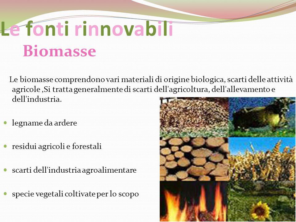 Le fonti rinnovabili Biomasse Le biomasse comprendono vari materiali di origine biologica, scarti delle attività agricole,Si tratta generalmente di sc