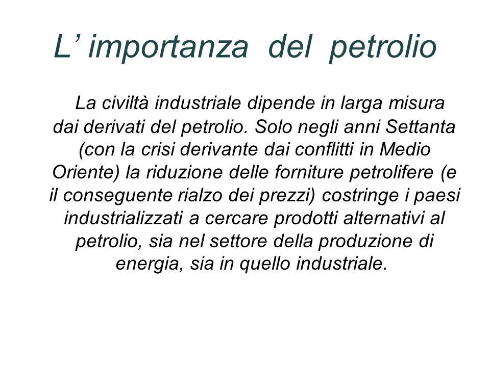 L importanza del petrolio La civiltà industriale dipende in larga misura dai derivati del petrolio. Solo negli anni Settanta (con la crisi derivante d