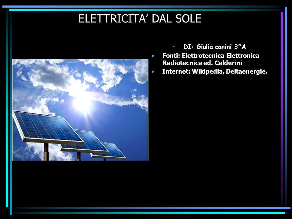 ELETTRICITA DAL SOLE DI: Giulia canini 3°A Fonti: Elettrotecnica Elettronica Radiotecnica ed.