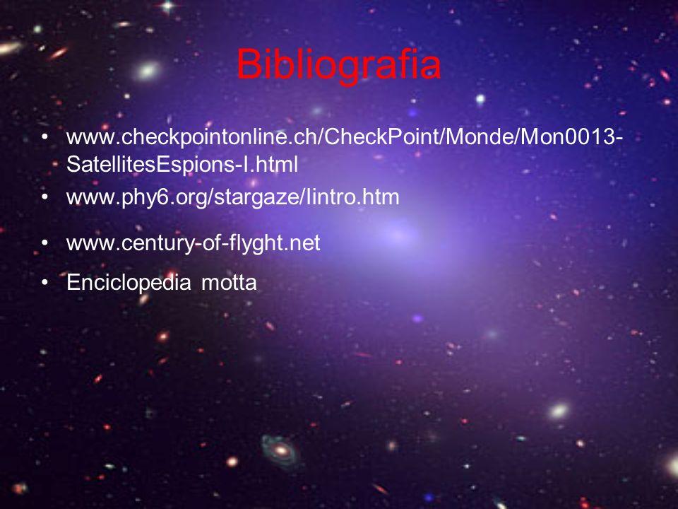 Bibliografia www.checkpointonline.ch/CheckPoint/Monde/Mon0013- SatellitesEspions-I.html www.phy6.org/stargaze/Iintro.htm www.century-of-flyght.net Enc