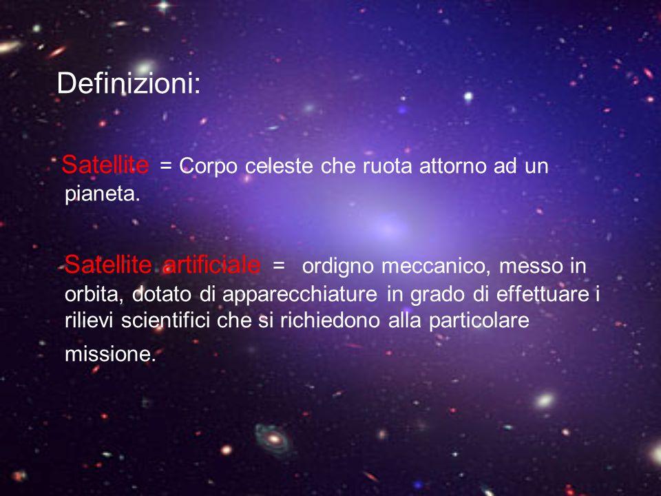 Definizioni: Satellite = Corpo celeste che ruota attorno ad un pianeta. Satellite artificiale = ordigno meccanico, messo in orbita, dotato di apparecc