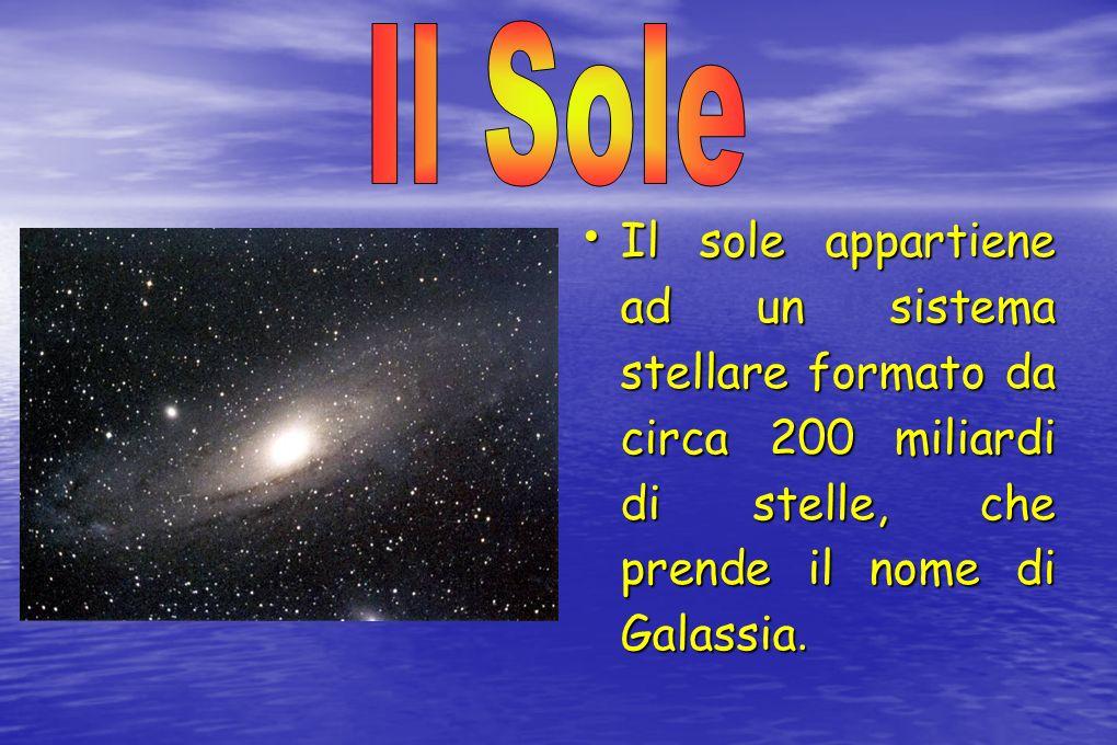 Il sole appartiene ad un sistema stellare formato da circa 200 miliardi di stelle, che prende il nome di Galassia. Il sole appartiene ad un sistema st