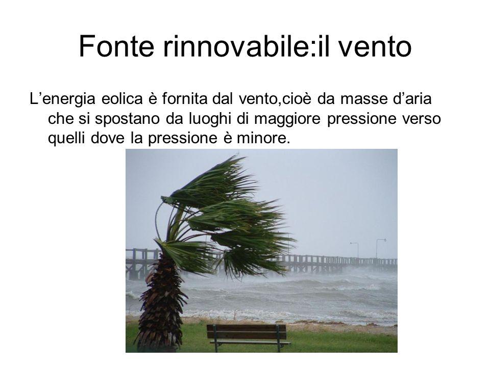 Fonte rinnovabile:il vento Lenergia eolica è fornita dal vento,cioè da masse daria che si spostano da luoghi di maggiore pressione verso quelli dove l