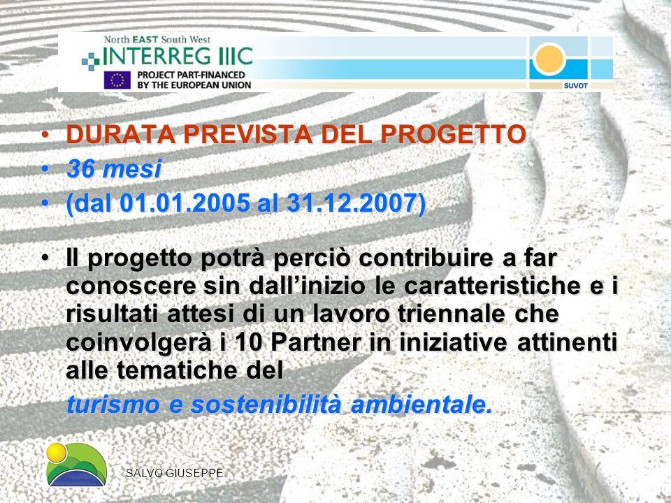 DURATA PREVISTA DEL PROGETTODURATA PREVISTA DEL PROGETTO 36 mesi36 mesi (dal 01.01.2005 al 31.12.2007)(dal 01.01.2005 al 31.12.2007) Il progetto potrà perciò contribuire a far conoscere sin dallinizio le caratteristiche e i risultati attesi di un lavoro triennale che coinvolgerà i 10 Partner in iniziative attinenti alle tematiche delIl progetto potrà perciò contribuire a far conoscere sin dallinizio le caratteristiche e i risultati attesi di un lavoro triennale che coinvolgerà i 10 Partner in iniziative attinenti alle tematiche del turismo e sostenibilità ambientale.