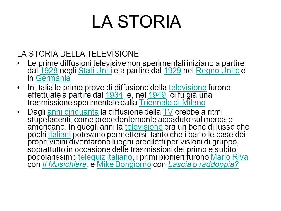 LA STORIA LA STORIA DELLA TELEVISIONE Le prime diffusioni televisive non sperimentali iniziano a partire dal 1928 negli Stati Uniti e a partire dal 19