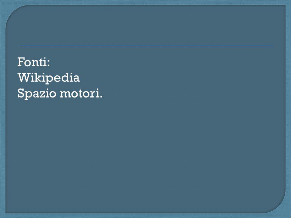 Fonti: Wikipedia Spazio motori.