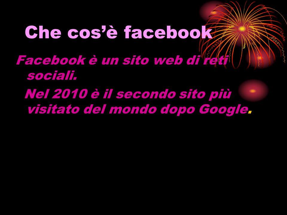 Che cosè facebook Facebook è un sito web di reti sociali.