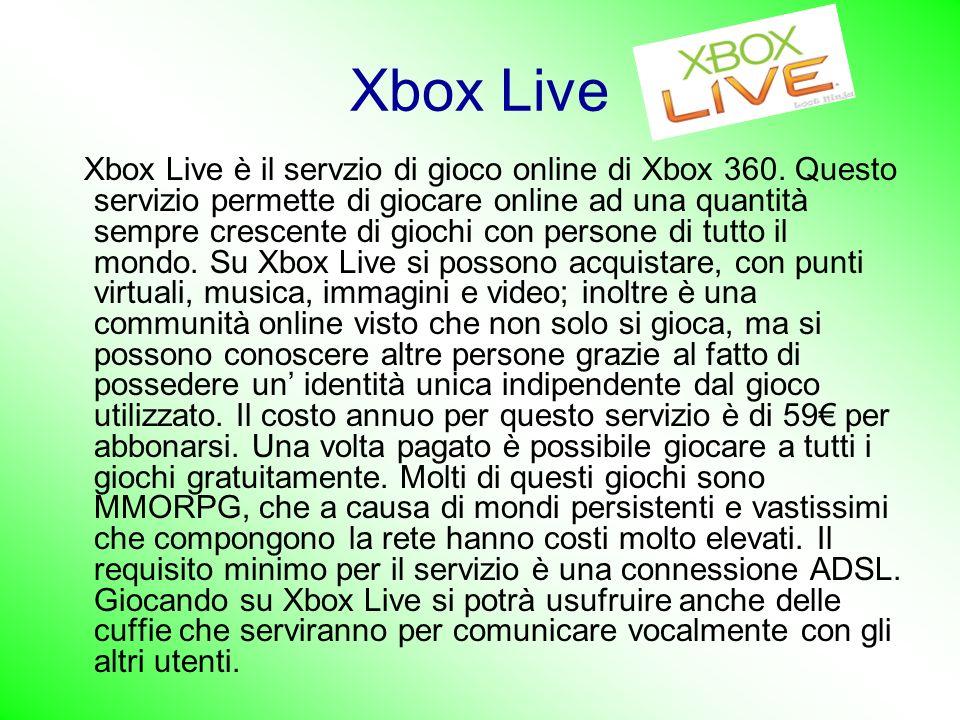 Xbox Live Xbox Live è il servzio di gioco online di Xbox 360.