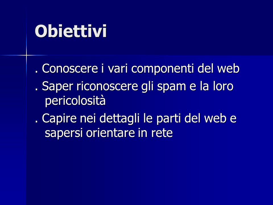 Obiettivi. Conoscere i vari componenti del web. Saper riconoscere gli spam e la loro pericolosità. Capire nei dettagli le parti del web e sapersi orie