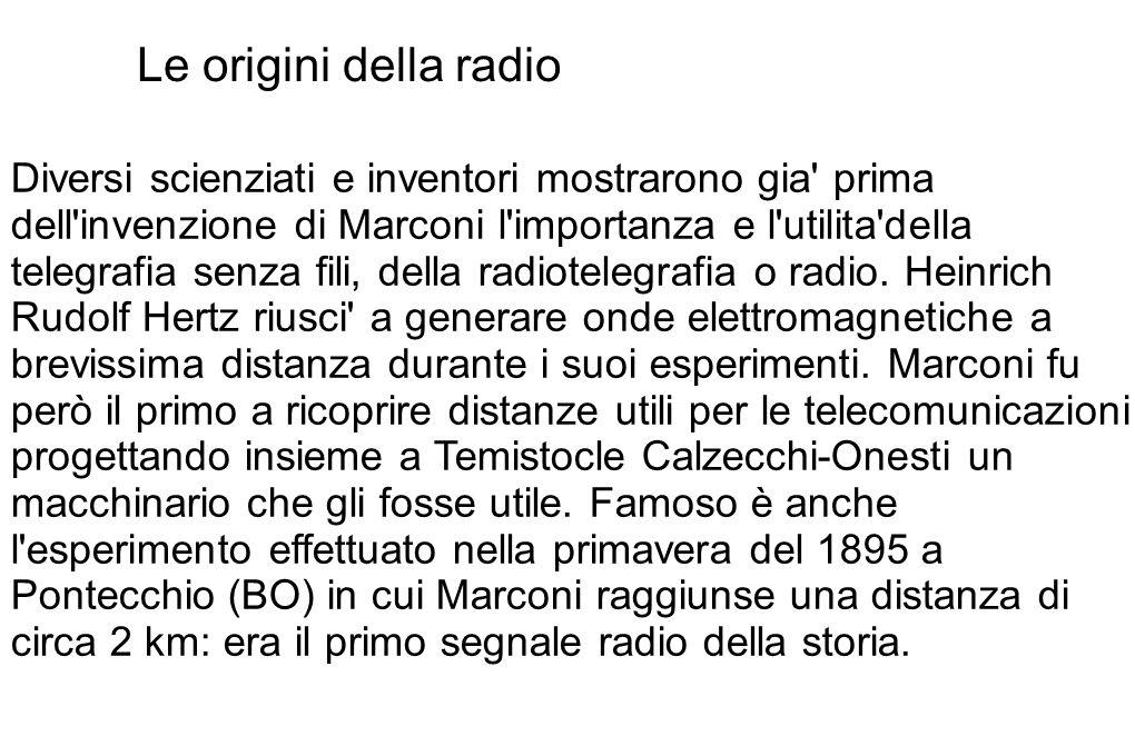 Le origini della radio Diversi scienziati e inventori mostrarono gia' prima dell'invenzione di Marconi l'importanza e l'utilita'della telegrafia senza