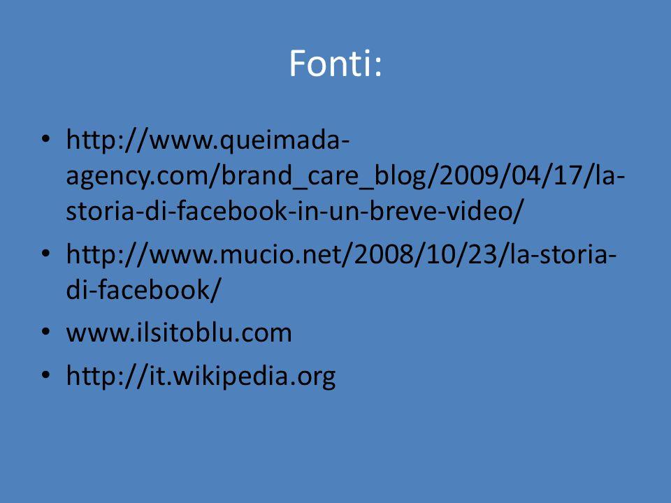 Fonti: http://www.queimada- agency.com/brand_care_blog/2009/04/17/la- storia-di-facebook-in-un-breve-video/ http://www.mucio.net/2008/10/23/la-storia-
