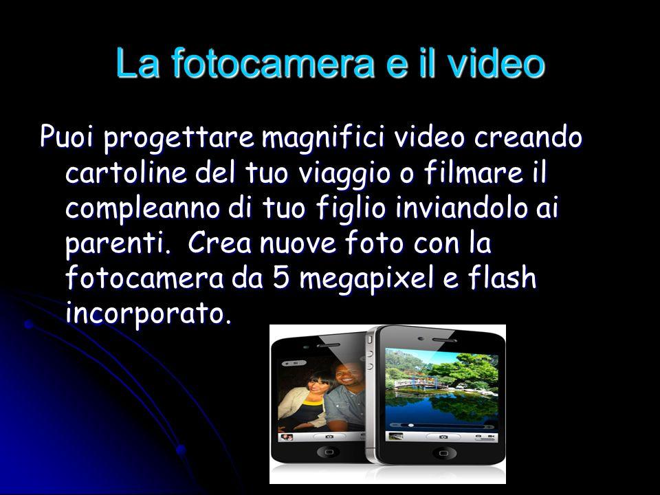 La fotocamera e il video Puoi progettare magnifici video creando cartoline del tuo viaggio o filmare il compleanno di tuo figlio inviandolo ai parenti.