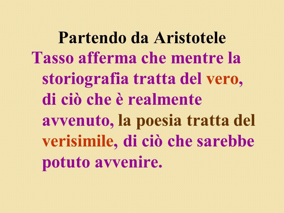 Partendo da Aristotele Tasso afferma che mentre la storiografia tratta del vero, di ciò che è realmente avvenuto, la poesia tratta del verisimile, di