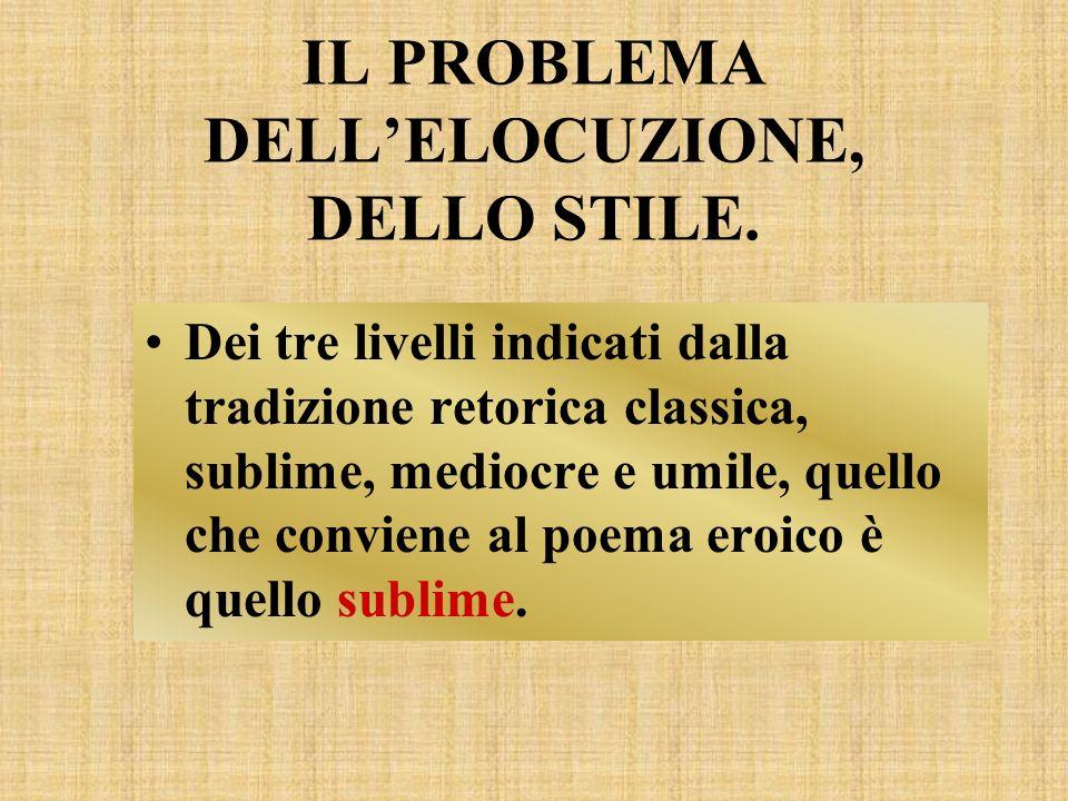 IL PROBLEMA DELLELOCUZIONE, DELLO STILE. Dei tre livelli indicati dalla tradizione retorica classica, sublime, mediocre e umile, quello che conviene a