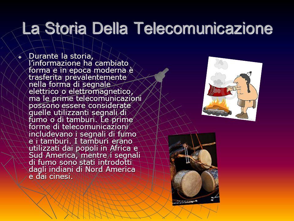 La Storia Della Telecomunicazione Durante la storia, linformazione ha cambiato forma e in epoca moderna è trasferita prevalentemente nella forma di se