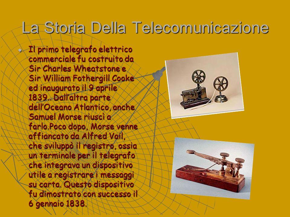 La Storia Della Telecomunicazione Il primo telegrafo elettrico commerciale fu costruito da Sir Charles Wheatstone e Sir William Fothergill Cooke ed in