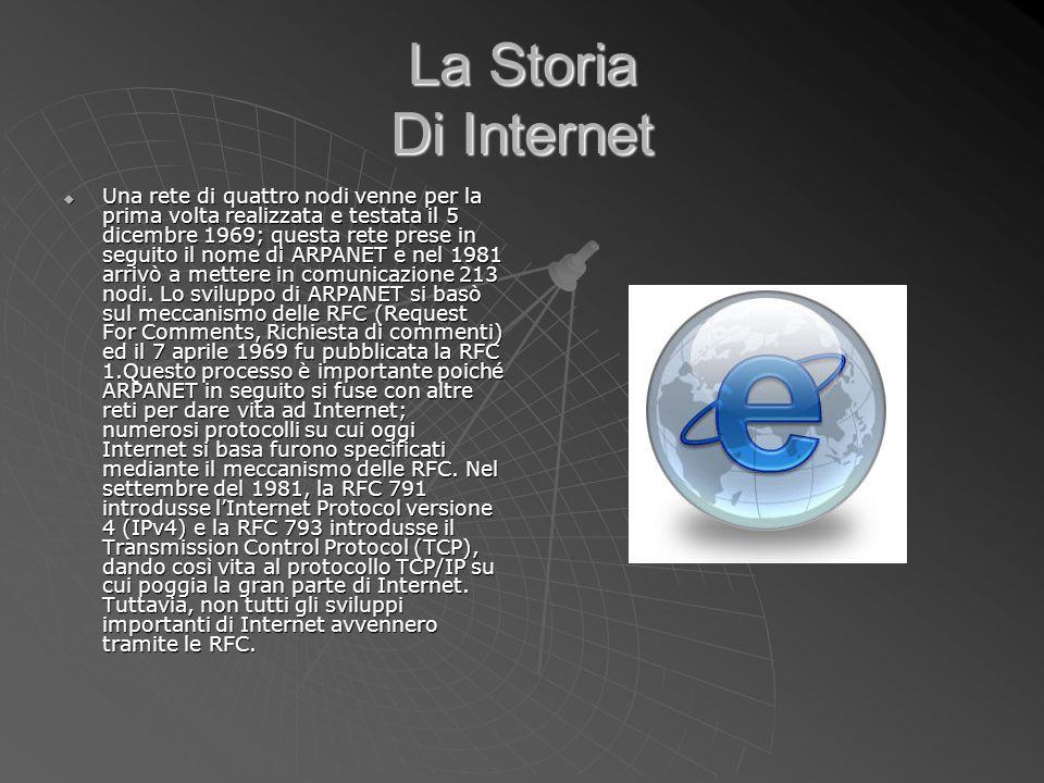 La Storia Di Internet Una rete di quattro nodi venne per la prima volta realizzata e testata il 5 dicembre 1969; questa rete prese in seguito il nome