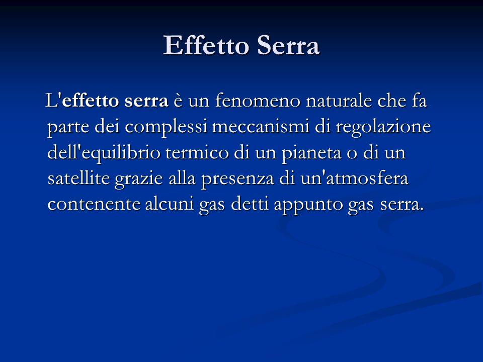 Effetto Serra L'effetto serra è un fenomeno naturale che fa parte dei complessi meccanismi di regolazione dell'equilibrio termico di un pianeta o di u