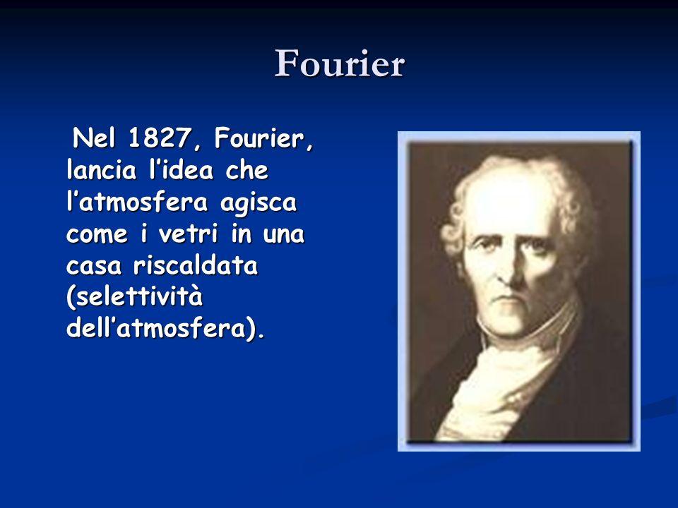 Fourier Nel 1827, Fourier, lancia lidea che latmosfera agisca come i vetri in una casa riscaldata (selettività dellatmosfera). Nel 1827, Fourier, lanc