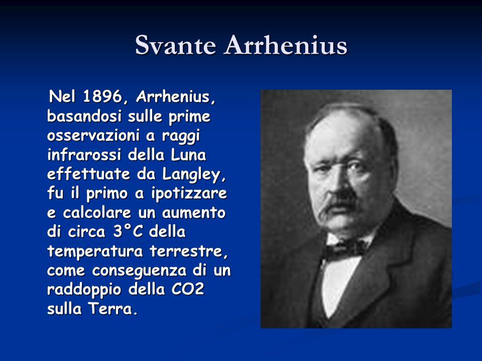 Svante Arrhenius Nel 1896, Arrhenius, basandosi sulle prime osservazioni a raggi infrarossi della Luna effettuate da Langley, fu il primo a ipotizzare