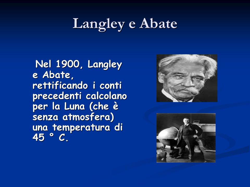 Langley e Abate Nel 1900, Langley e Abate, rettificando i conti precedenti calcolano per la Luna (che è senza atmosfera) una temperatura di 45 ° C. Ne