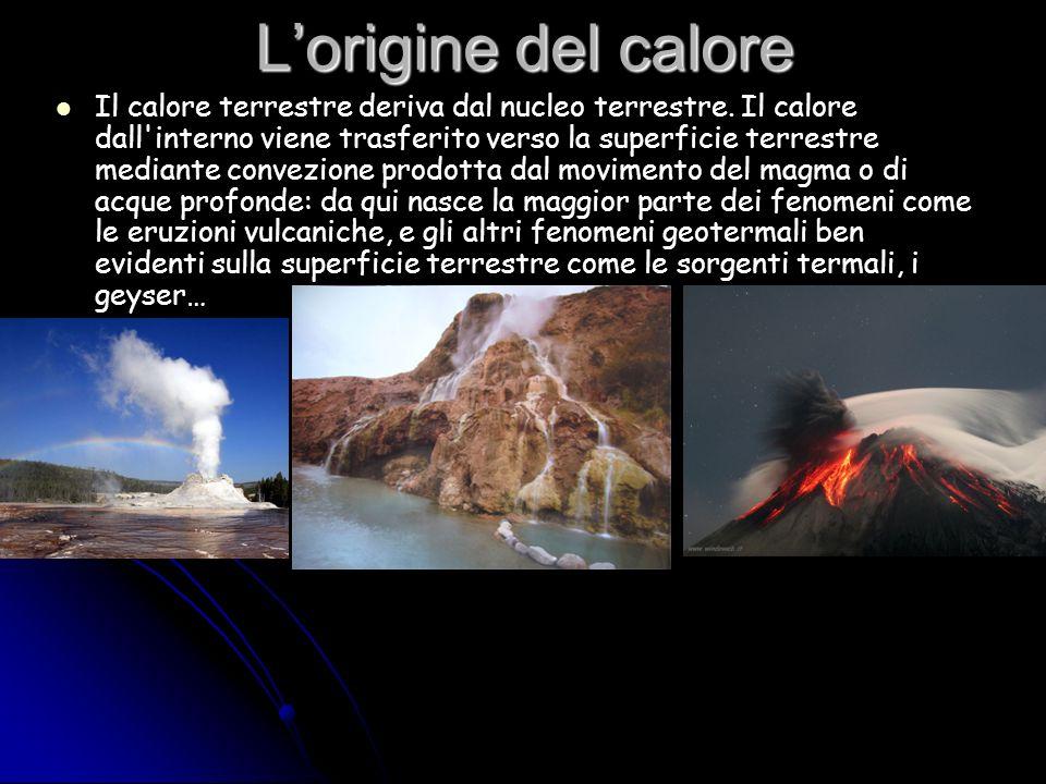 Lorigine del calore Il calore terrestre deriva dal nucleo terrestre. Il calore dall'interno viene trasferito verso la superficie terrestre mediante co