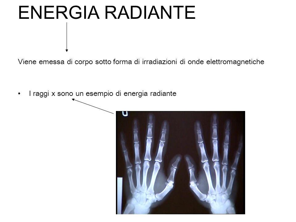 ENERGIA RADIANTE Viene emessa di corpo sotto forma di irradiazioni di onde elettromagnetiche I raggi x sono un esempio di energia radiante