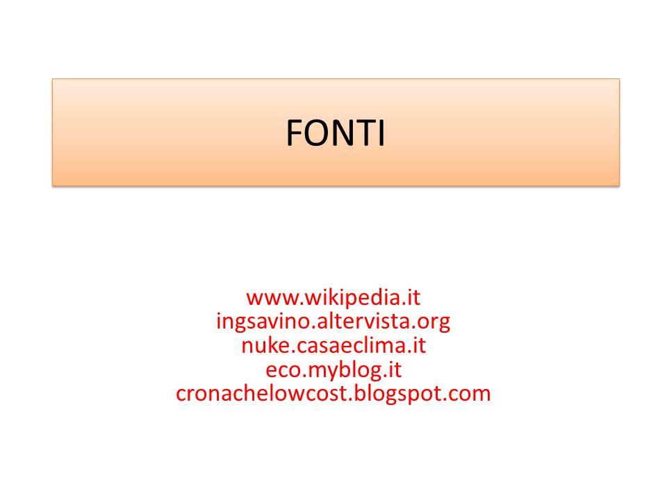 FONTI www.wikipedia.it ingsavino.altervista.org nuke.casaeclima.it eco.myblog.it cronachelowcost.blogspot.com