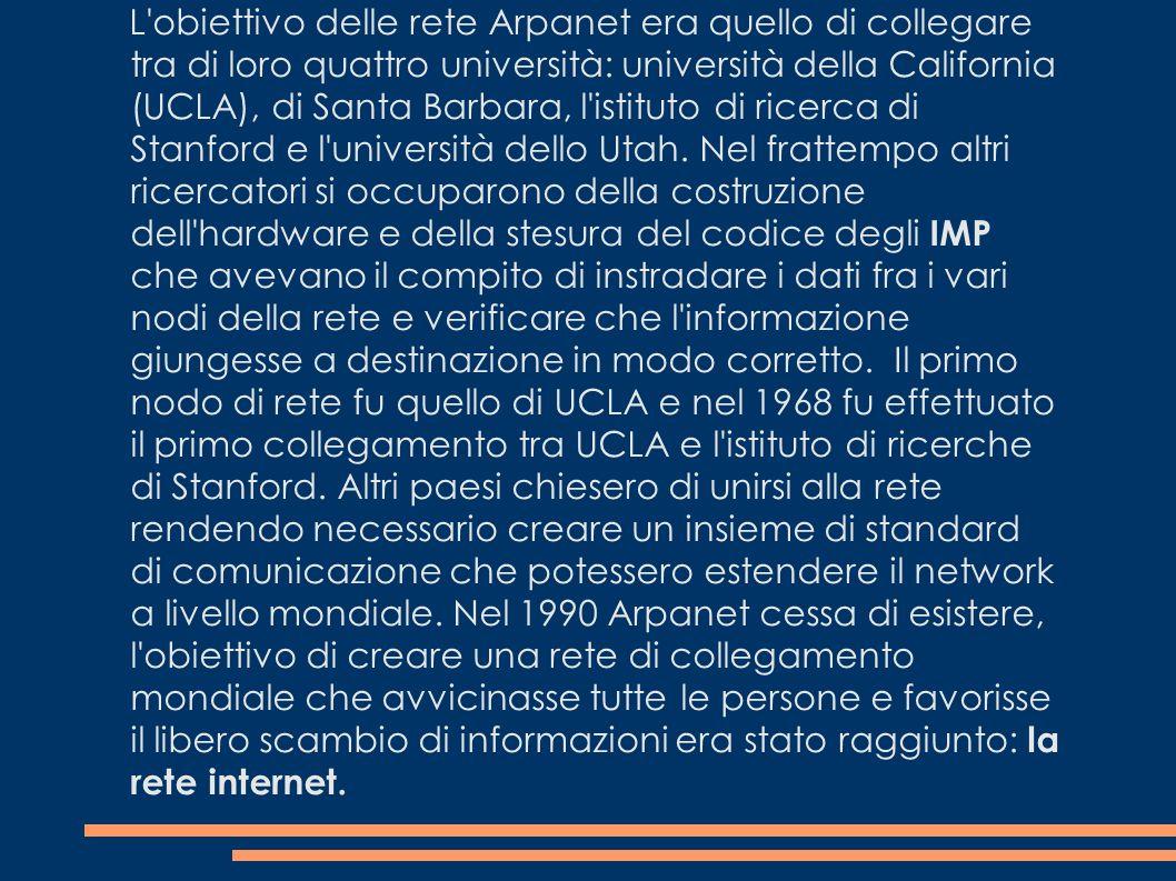 L'obiettivo delle rete Arpanet era quello di collegare tra di loro quattro università: università della California (UCLA), di Santa Barbara, l'istitut