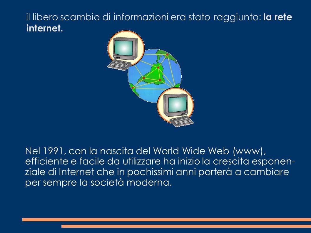 il libero scambio di informazioni era stato raggiunto: la rete internet. Nel 1991, con la nascita del World Wide Web (www), efficiente e facile da uti