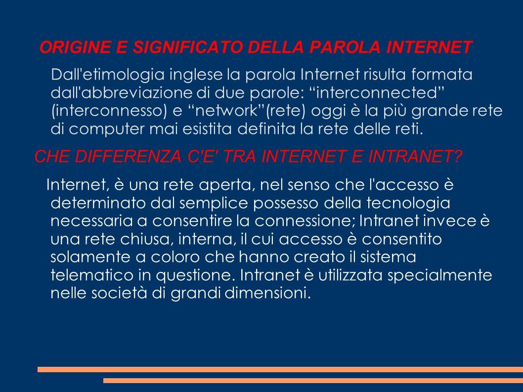 ORIGINE E SIGNIFICATO DELLA PAROLA INTERNET Dall'etimologia inglese la parola Internet risulta formata dall'abbreviazione di due parole: interconnecte